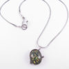 Green Sparkly Vintage Polymer Cabochon and Antiqued Sterling Silver Necklace