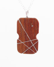 "2-Sided Wood and Silver Inlay ""Fiddle"" Necklace"