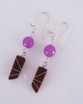 Bloodwood, Silver and Purple Agate Inlay Earrings