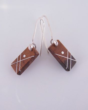Small Rectangular Wood and Silver Inlay Earrings