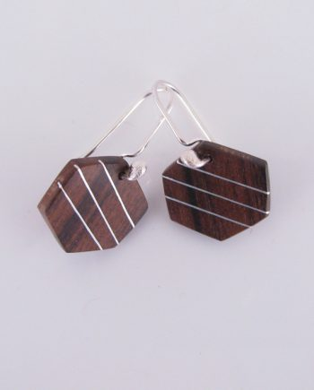 Hexagon Wood and Silver Inlay Earrings