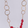 Brass, Gold-Filled, Glass Pearl and Vintage Glass Asymmetrical Necklace