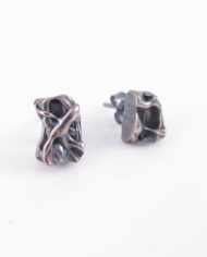 Abstract Antiqued Layered Sterling Silver Cast Post Earrings