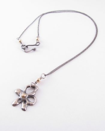Antiqued Sterling Silver and 14k Gold Flower Necklace
