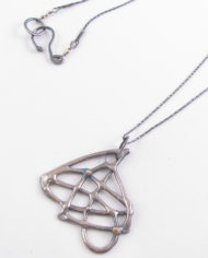 Antiqued Sterling Silver and 14k Gold Large Asymmetrical Cast Necklace