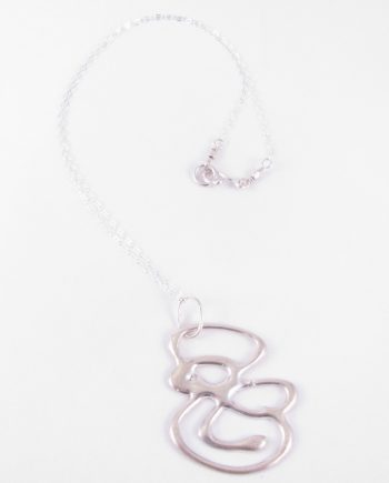 Abstract Sterling Silver Curved Figure 8 Necklace