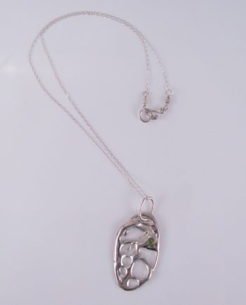 Abstract Sterling Silver and Peridot Necklace