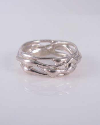 Abstract Sterling Silver Vine Ring, Size 9