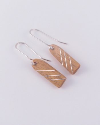 Yellowheart and Silver Inlay Drop Line Earrings