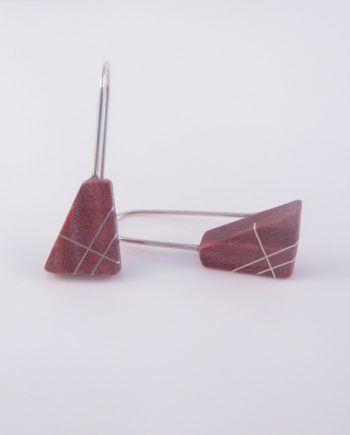Pink Birdseye Maple and Silver Inlay Earrings