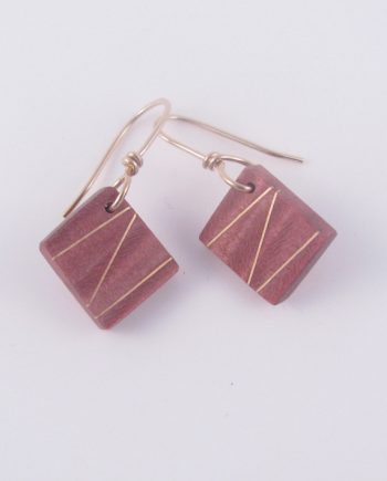Pink Birdseye Maple and Gold-Filled Inlay Earrings