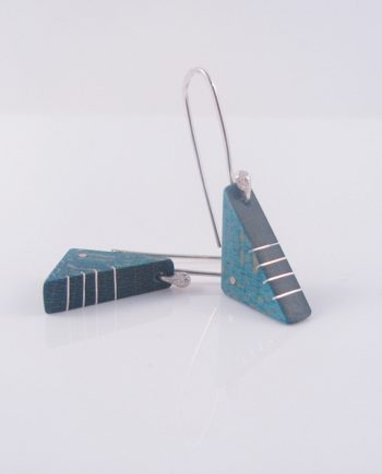"Teal Curly Maple and Silver Inlay Triangle ""Boot"" Earrings"