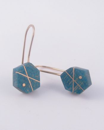 Teal Curly Maple and Gold-Filled Inlay Hexagon Earrings