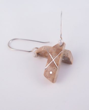 Spalted Maple and Silver Trapezoid Earrings
