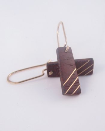 Bloodwood and Gold-Filled Inlay Rectangle Earrings
