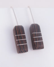 Wenge and Silver Inlay 3-Line Rectangle Earrings