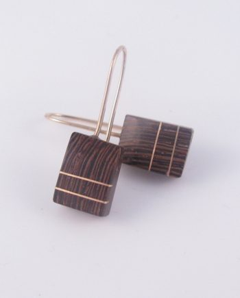 Wenge and Gold-Filled Angled Square Earrings