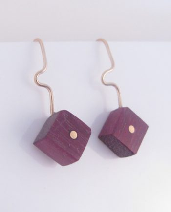 Purpleheart and Gold-Filled Inlay One Dot Earrings