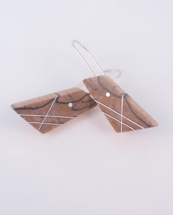 Spalted Maple and Silver Angled Earrings