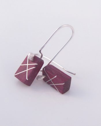 Purpleheart and Silver Inlay Small Rectangle Earrings