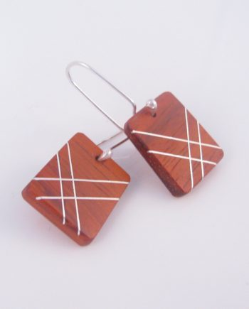 African Padauk and Silver Inlay Large Rectangle Earrings