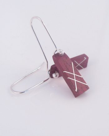 Purpleheart and Silver Inlay Earrings