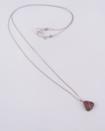 Tiny 2-Sided Wood Teardrop Necklace with Silver Inlay