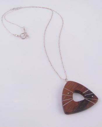 Large Wood Open Triangle Necklace with Silver Inlay