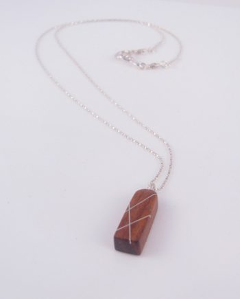 2-Sided Vertical Thick Column Bloodwood and Silver Inlay Necklace