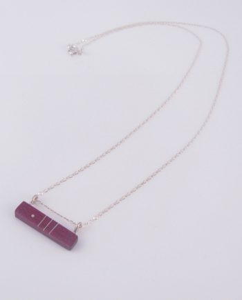 Purpleheart and Silver Inlay 2-Hook Horizontal Bar Necklace