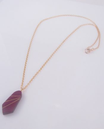 "Purpleheart and Gold-Filled Inlay ""Tie"" Necklace"