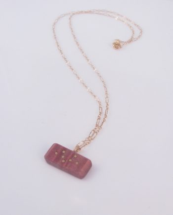 Pink Curly Maple and Gold-Filled Inlay Necklace