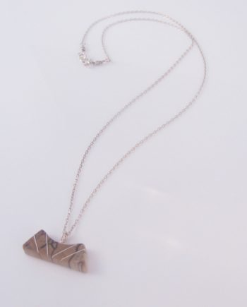 Spalted Maple and Silver Inlay Curvy Necklace