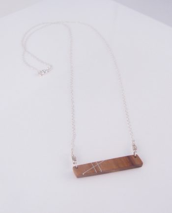 Canarywood and Silver Inlay Bar Necklace