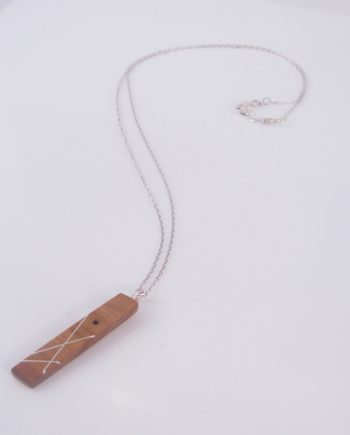 Canarywood and Silver Inlay 2-Sided Drop Rectangle Necklace