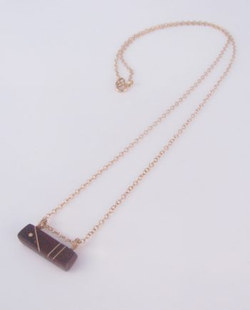 Bloodwood and Gold-Filled Inlay Bar Pyramid Necklace