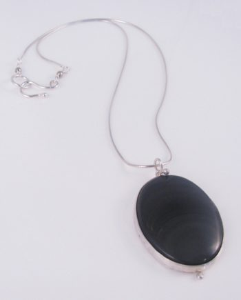 Black Agate and Sterling Silver Wave Necklace
