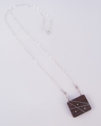 Wengewood and Silver Inlay Square Necklace