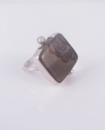 Imperial Jasper and Sterling Silver Wave Ring, Size 7.5