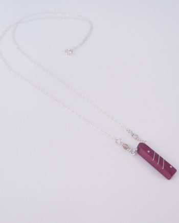 Purpleheart and Silver Inlay Dot Bar Necklace