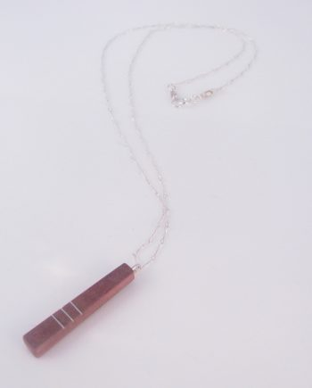 Pink Curly Maple and Silver Inlay 2-Sided Long Vertical Necklace