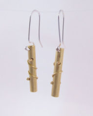 Brushed Brass and Sterling Silver Coil Column Earrings
