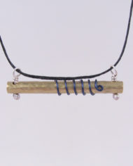 Textured Brass, Sterling Silver and Blue Wire Coil Bar Necklace with Hemp Cord