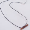 Copper, Blue Wire and Sterling Silver Textured Bar Necklace with Hemp Cord