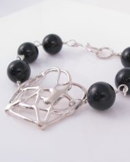 Abstract Cast Sterling Silver and Onyx Bracelet