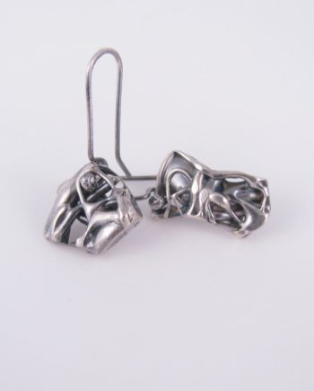 Abstract Antiqued Layered Sterling Silver Super Asymmetrical Drop Earrings