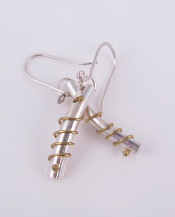 Sterling Silver and Brass Curved Coil Earrings