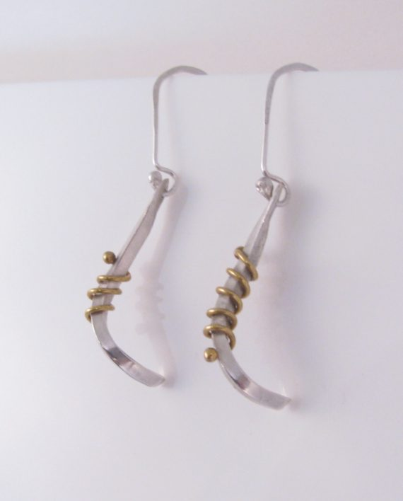 Sterling Silver and Brass Twist Coil Earrings