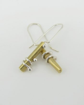 Brass and Sterling Silver Petite Slide Coil Earrings