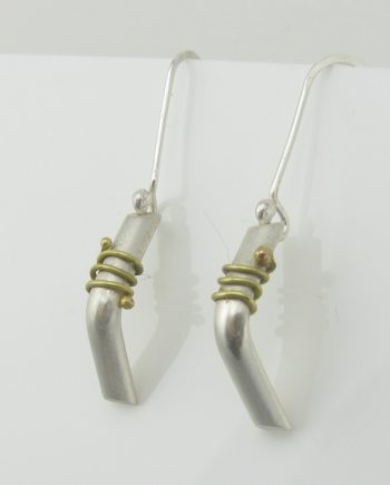 Sterling Silver and Brass Chevron Coil Earrings